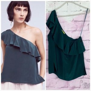 Anthropologie Maeve Holly silk one shoulder blouse